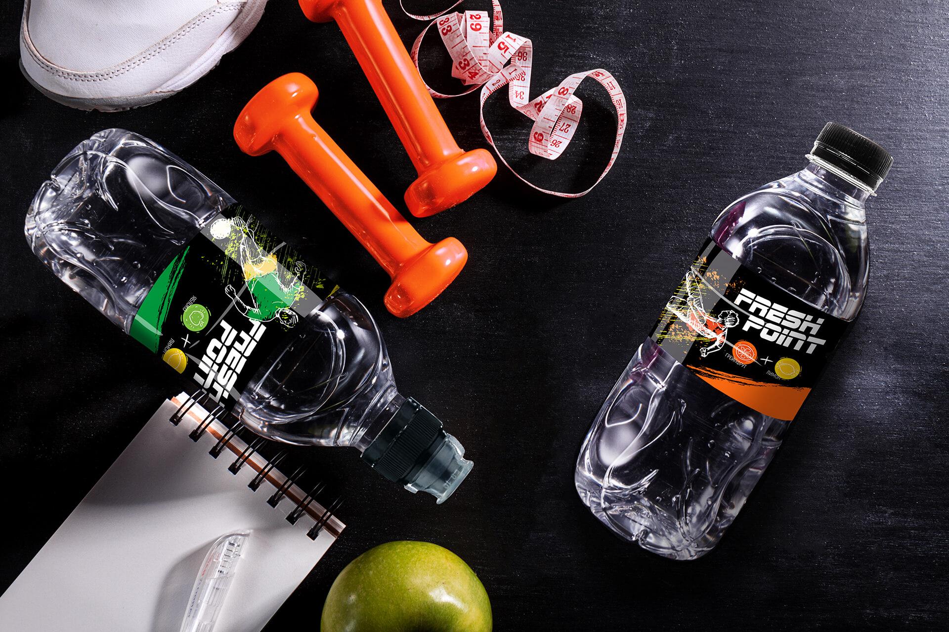 Дизайн бутылки минеральной воды, пример этикетки и наклейки